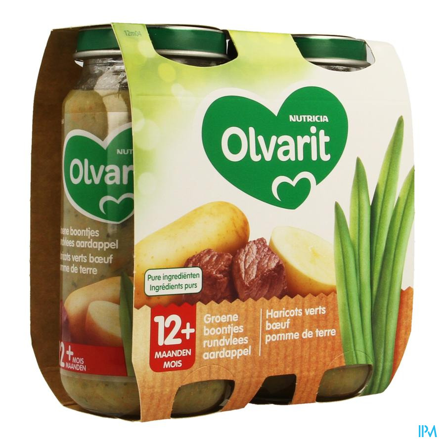 Olvarit Haricots Boeuf Puree 2x250g 12m04