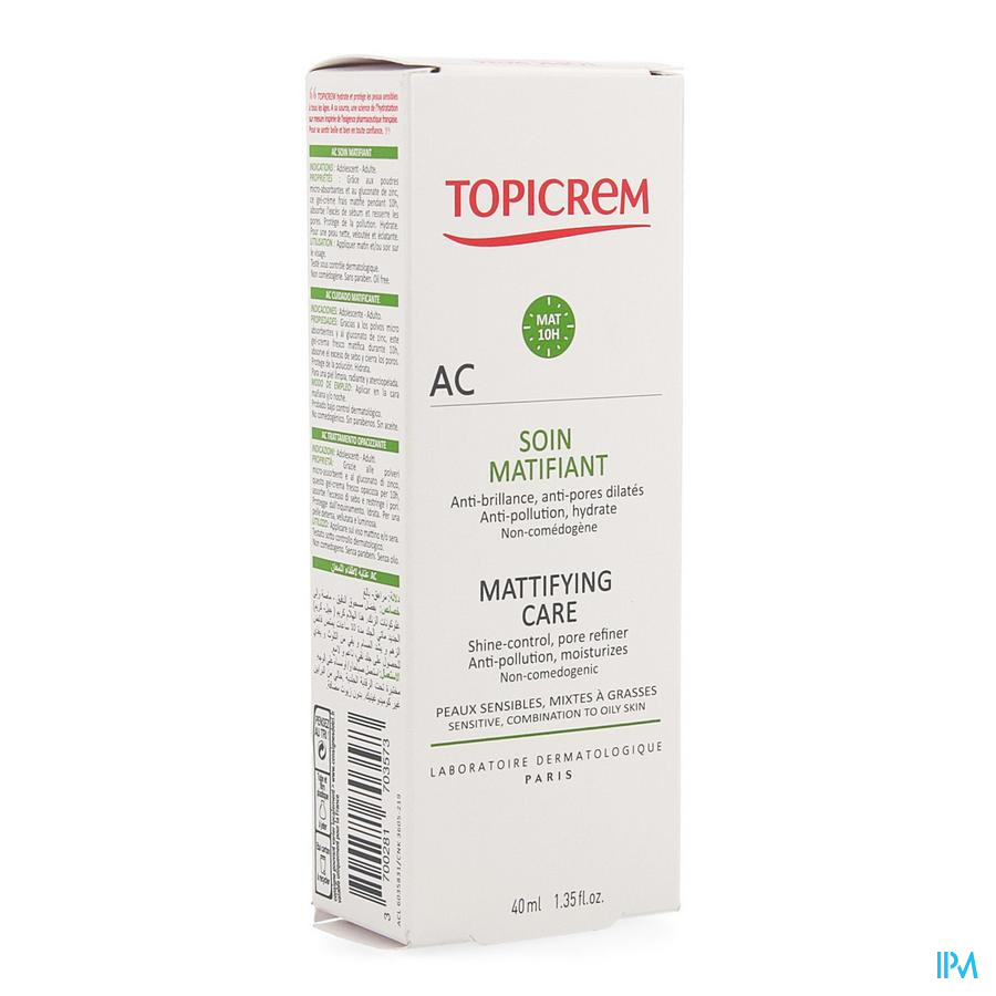 Topicrem Ac Fluide Matifiant Tube 40ml
